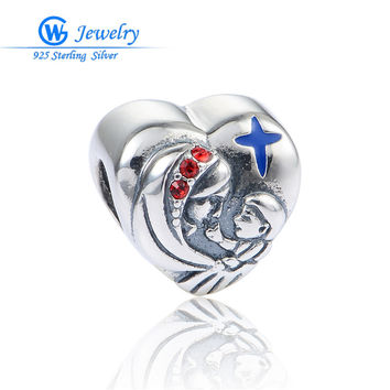 Mother And Son European Style Heart Silver 925 Charms Fits for Bangle Bracelet The Gift For Mother's Day GW Fine Jewelry X411H20