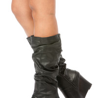 Black Faux Leather Slouchy Calf Length Wedge Boots