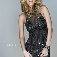 Sherri Hill 32005 - Black Beaded Illusion Short Homecoming Dresses Online