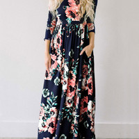 Streetstyle  Casual Ecstatic Harmony Navy Blue Floral Print Maxi Dress