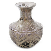 "16"" Glass Toulouse Vase, Silver, Vases"