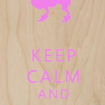 'Keep Calm and Walk the Dog' Poodle w/ Leash - Plywood Wood Print Poster Wall Art