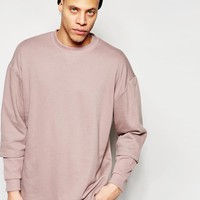 ASOS | ASOS Longline Oversized Sweatshirt With Double Layer Rib Sleeve at ASOS