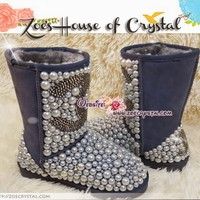 WINTER Bling and Sparkly Dark Grey UGG Inspired SheepSkin Wool BOOTS w Pearls and Chanel made with Czech or Swarovski crystals - ZoeCrystal
