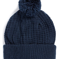 NAVY WAFFLE BEANIE WITH BOBBLE - TOPMAN