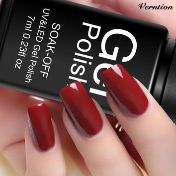 Verntion Nail Gel Lacquer 29 Colors LED Lamp Vernis Semi Permanent  Soak Off UV Colors Black Bottle Gel Nail Polish Lucky