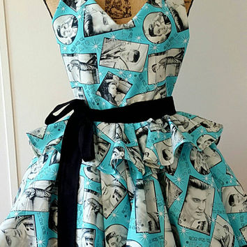 Elvis - Presley  - rock and roll - waitress  - diner  -  pinup-rockabilly-  50's housewife - style apron