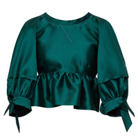 Mikado Crop Top With Bow Tie Sleeves by Aquilano.Rimondi - Moda Operandi