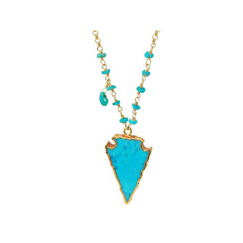 Turquoise Arrowhead Necklace Set in 18k Yellow Gold Plated Silver, 25""