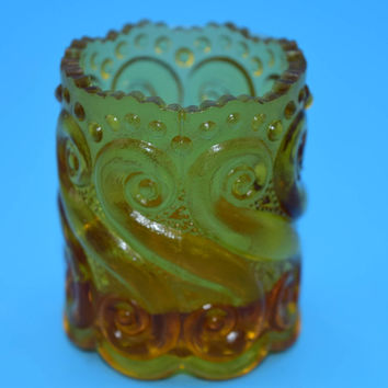 L G Wright S Repeat Amber Toothpick Holder Vintage Depression Glass Match Votive Candle Holder Made In U S A Folk Americana Gift for Her