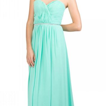 Starbox USA 6175 Strapless Floor Length Formal Dress Ruched Bodice Mint