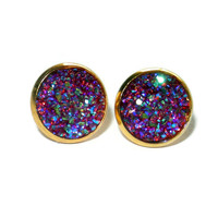 Pink Purple Faux Druzy Post Earrings, 12 mm Earrings