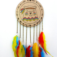 Tribal Bear Dreamcatcher, wood dream catcher, kids room decor, pyrography wood, eco gift, wall hanging home decor, cartoon bear, feathers