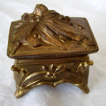 Antique Art Nouveau Repousse Vanity Trinket Jewelry Box