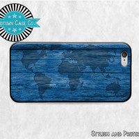 Map of the World on Wood Blue iPhone 6 Rubber Case, Map of the World on Wood iPhone 5 Rubber Case, Map of the World iPhone 5C Rubber Case