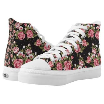 floral,roses,red,black,background,shabby chic,pink printed shoes