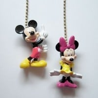 New 2 Disney Mickey Minnie Mouse Figure Ceiling Fan Light Pull Chains