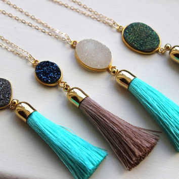Gold Tassel Necklace Drusy Jewelry Drusy Necklace - Tassel Druzy Necklace - Turquoise Beige Tassel Layering Statement Necklace Jewelry