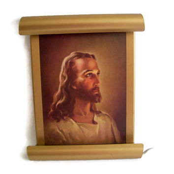 "Vintage Jesus Christ ""The Guiding Light"" Memorial with Light 1960's"