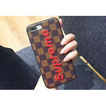 Supreme personality luxury iphoneX mobile phone shell embroidery iphone8plus protective cover F-OF-SJK Red