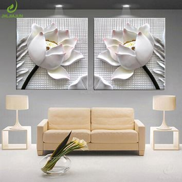 Art Painting Wall Pictures For Living Room 3D Lotus Flower Home Decoration Modular Pictures For Kitchen Art Canvas Print Poster