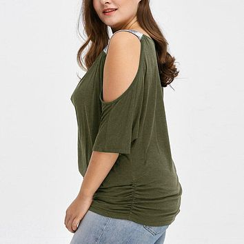 Plus Size Women Cold Shoulder Loose Casual Short Sleeve Shirt Tops Blouse Weekend Shirt Top Leisure