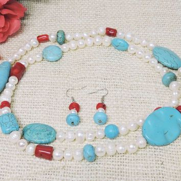 Blue Turquoise Red Coral Fresh Water White Pearl Natural Custom Long Necklace