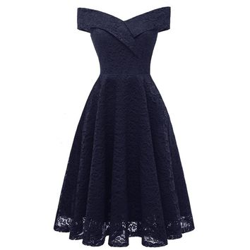 Off Shoulder Sleeveless Cut Out lace dress Vintage 50s 60s Swing Tunic pin up dress Summer Women sexy elegant party dresses