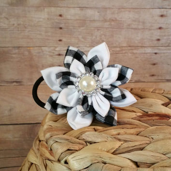 Black and White Buffalo Check Pattern Dog Collar Fabric Flower Accessory // Custom Handmade Made To Match Coordinating // Removable // Cute