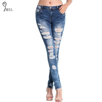 Hole Ripped Jeans For Women High Waist Slim Skiiny Boyfriend Girl Cool Denim Pencil Pants Sexy Trouser Button Casual Blue **