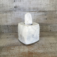 Tissue Box Cover Faux Marble Tissue Box Holder Hollywood Regency Tissue Box Holder Mid Century Plastic Tissue Box Holder Bathroom Decor