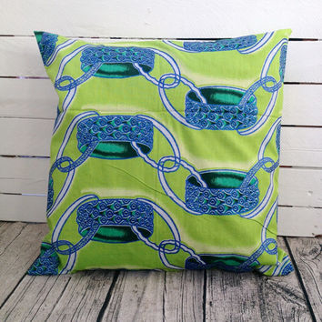Cushion pillow cover, African wax print  (17 inch) Green Blue