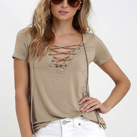 Hollow out Strappy Lace Up Shirt
