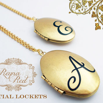 Personalized Initial Locket   monogram locket necklace by ReynaRed