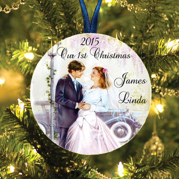 Our first Christmas tree ornament - Couple first Christmas personalized names - Christmas tree ornament gift - Our First Christmas Together