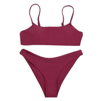 ZAFUL Bikini Sexy Spaghetti Strap Padded Swimwear Backless Solid Color Low Waist Women Bikini Set Summer Beach Women's Swimsuit