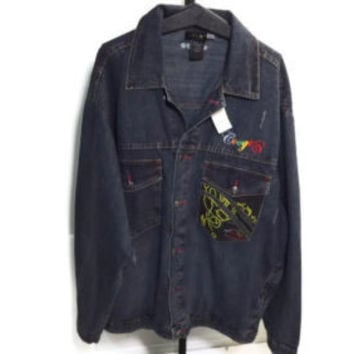new RETRO COOGI Australia Authentic Distressed  Look Jean Jacket Size 4XL 46