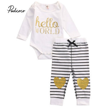 Pudcoco New born Long Sleeve Clothes Baby Girls Letter Hello World Tops Romper +Long Pants 2Pcs Outfits Set Clothes
