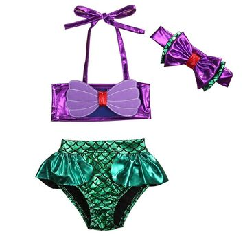 2017 New Baby Girl Kids Toddler Cute mermaid Purple big bow two pieces Swimwear Swimsuit Tankinis Bikini Set Summer cothes 1T-8T