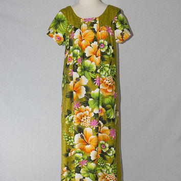 RESERVED~~Vintage 1960's Hawaiian Dress Green Floral Print Maxi Dress MuuMuu