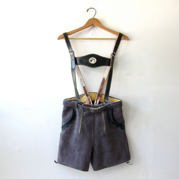 Authentic German Lederhosen. Vintage 50s Lederhosen. Leather Suede Shorts. Suspenders. German Lederhosen. Women's XS