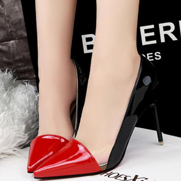 Paris Fashion Week Sexy Transparent Women Pumps Splice High Heels Lady's Work Shoes Christmas present dames schoenen