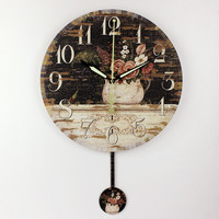 absolutely silent bedroom decoration wall clock vintage home decor watch wall Europe style wall decoration clocks horloge murale