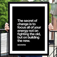 "Socrates Motivational Quote Wall Decor ""The Secret of Change"" Inspirational Quote Typographical Art Print - PRINTABLE DOWNLOAD"