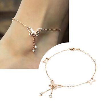 Women's Anklets 1Pcs Bracelets Butterfly Rose Gold Plated Tassels For Ankle