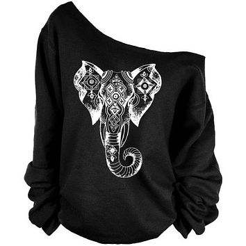Black Aztec Boho Elephant Women's Open Shoulder Tribal Sweatshirts