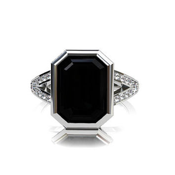 Emerald cut black spinel engagement ring, split shank ring, diamond ring, bezel, black engagement, spinel, white gold, gothic, wedding