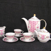 Vintage coffee tea set coffee pot chic pink flowers porcelain romantic dreamy made in Germany
