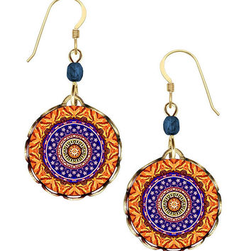 Lemon Tree Orange and Blue Kaleidoscope Earrings on Gold Filled Ear Wires
