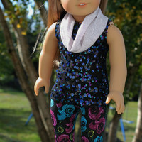 3 piece set! black sequin tank top, black floral leggings and silver infinity scarf , 18 inch doll clothes, American girl, Maplelea